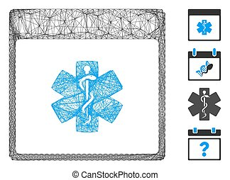Vector net medical life star calendar page. Geometric linear frame 2D net generated with medical life star calendar page icon, designed with crossed lines. Some bonus icons are added.