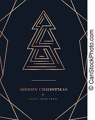 Linear Merry Christmas greeting card with rose gold lines