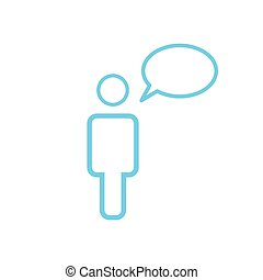 Linear Message Icon Person With Chat Speech Bubble, vector illustration isolated on white background.