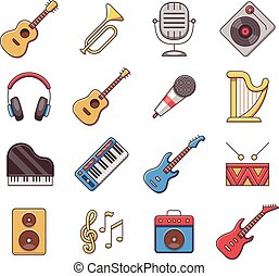 Linear music instruments vector color flat icons