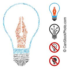 Linear News Maker Bulb Icon Vector Collage - Line collage ...