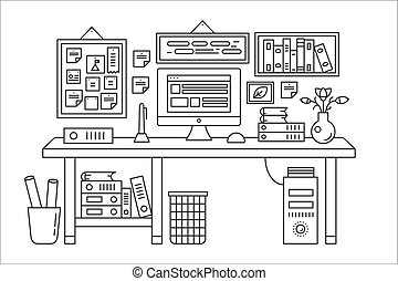 Linear office table with computer workspace and other equipment in office interior illustration. Thin line web banner template.