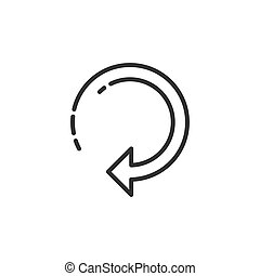 Linear outline clockwise arrow sign reload, refresh, rotation, repeat to right icon. Stock vector illustration isolated on white background.