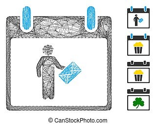 Vector wire frame postman calendar day. Geometric wire frame 2D net made from postman calendar day icon, designed with crossed lines. Some bonus icons are added.