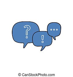 Linear question mark and exclamation mark in chat bubbles , vector illustration isolated on white background.