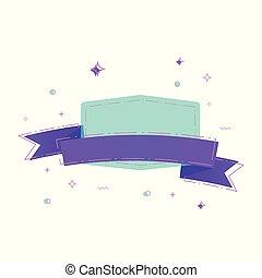 Linear ribbon badge. Vector illustration.