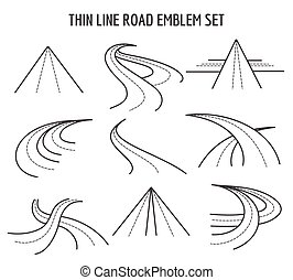 linear, rota, icons., tráfego, magra, fundo, sinais, linha, branca, estrada, rodovia
