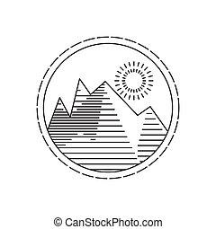 Linear round illustration of mountain sunrise on white background