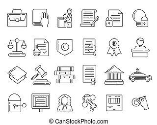 linear, símbolos, de, advogado, criminosos, e, proteção copyright