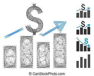 Linear Sales Bar Chart Vector Mesh
