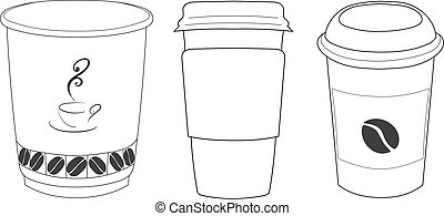 Linear silhouettes of cups of coffee in thin lines.