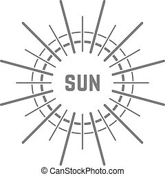 linear simple gray sun logo