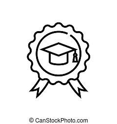 linear, sinal, esboço, educação, linha, ícone, ilustração, símbolo., vetorial, conceito