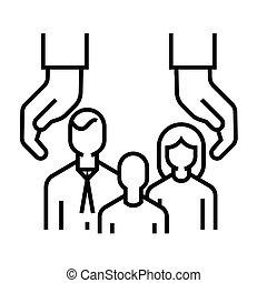 linear, sinal, esboço, linha familiar, ícone, cuidado, ilustração, símbolo., vetorial, conceito