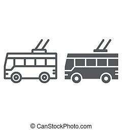 linear, sinal, trolleybus, experiência., vetorial, tráfego, transporte, padrão, gráficos, ícone, linha branca, público, glyph
