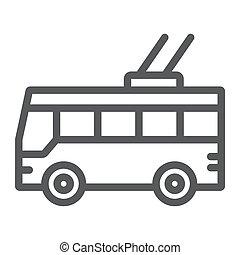 linear, sinal, trolleybus, experiência., vetorial, tráfego, transporte, padrão, gráficos, ícone, linha branca, público
