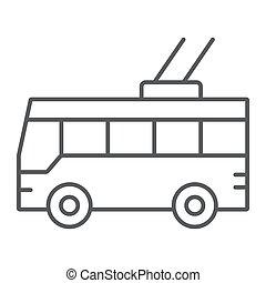 linear, sinal, trolleybus, transporte, experiência., vetorial, tráfego, magra, padrão, gráficos, ícone, linha branca, público