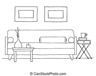 Linear sketch of an interior. Hand drawn vector illustration...