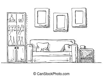 Linear sketch of an interior. Hand drawn vector illustration of a sketch style