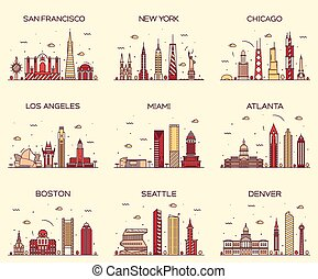 linear, skyline, abbildung, amerikanische , poppig, städte