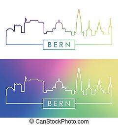 linear, skyline., bern, style., bunte