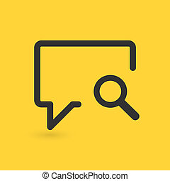 Linear Speech Bubble Search icon with magnifying glass. vector illustration isolated on yellow background.