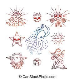 Linear tattoos with skull elements vector illustration