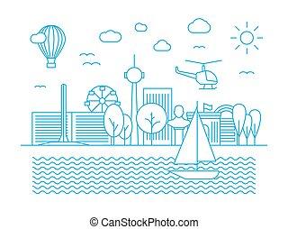 Linear urban skyline. City panorama in line art vector style