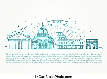 Linear vector icon for Vatican Rome Italy. Tourist attractions of Rome