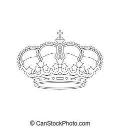Linear vector illustration of a crown background