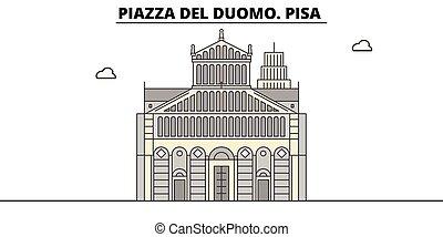 linear, viagem, piazza, duomo., pisa, vetorial, del, marco,...