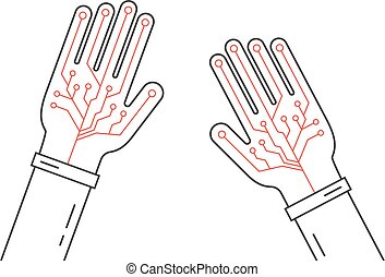 linear virtual gloves on hands