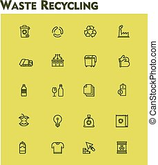 Linear waste recycling icon set