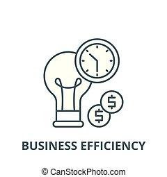 lineare, affari, efficienza, concetto, simbolo, segno, vettore, icona, linea, contorno