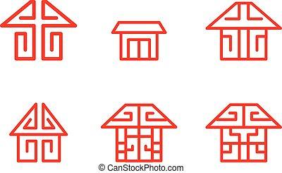 lineare, cinese, vettore, casa, logotipo, icona, stile