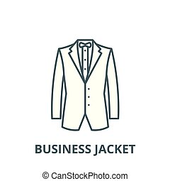 lineare, concetto affari, simbolo, giacca, segno, vettore, icona, linea, contorno