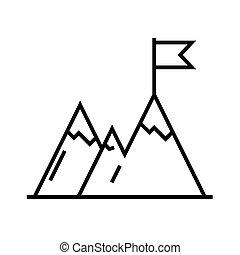 lineare, concetto, contorno, cima, icona, simbolo., segno, vettore, raggiungimento, linea, illustrazione