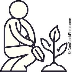 lineare, icona, illustrazione, concept., simbolo, vettore, linea, segno, cura, giardino