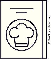 lineare, icona, ristorante, concept., conto, simbolo, vettore, linea, segno, illustrazione