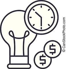 lineare, illustrazione affari, concept., simbolo, efficienza, vettore, linea, segno, icona