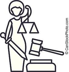 lineare, illustrazione, giustizia, concept., simbolo, vettore, linea, segno, icona
