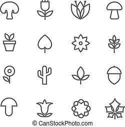 lineare, natura, icons., vettore, linea sottile, fiori, e, albero, foglie, e, funghi, segni