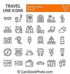 lineare, pacchetto, set, viaggiare, collezione, linea, isolato, disegni, simboli, fondo., vettore, pictograms, segni, logotipo, bianco, vacanza, turismo, illustrazioni, icona