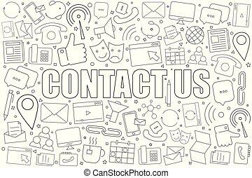 lineare, pattern., ci, contatto, vettore, fondo, icon., ...