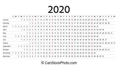 Calendario 2020 Orizzontale.2020 Calendario Griglia Template Isolato Isolato