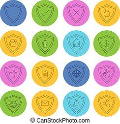 lineare, protezione, schermi, icone, set