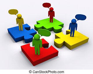 lineare, puzzle, persone, come, concetto