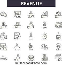 lineare, reddito, set, icone, illustrazione, concetto, vettore, linea, segni, contorno