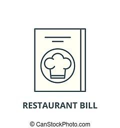 lineare, ristorante, concetto, simbolo, conto, segno, vettore, icona, linea, contorno