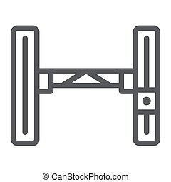 lineare, segno, automobile, ascensore, idraulico, fondo., vettore, modello, auto, grafica, icona, linea, bianco, sollevamento, meccanico